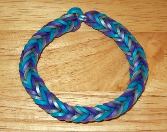 Rainbow Loom Rubber Band Bracelet, Metallic Colors of Blue, Purple, and Silver - Fancy Fishtail Design