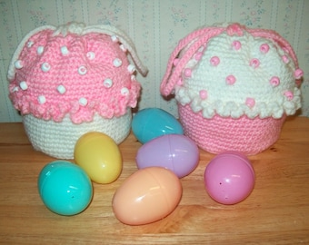 ON SALE!  Easter Crochet Cupcake Purse with Drawstrings for Little Girls, Choice of color