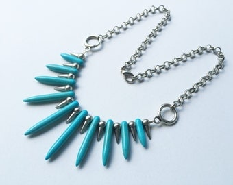 Chunky Turquoise And Silver Spike Chain Necklace Statement Necklace