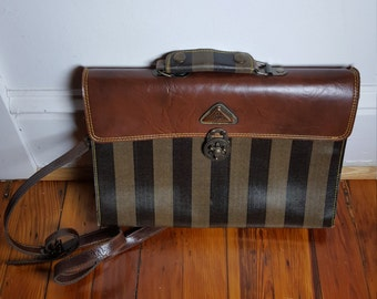 Striped leather 80s shoulder bag