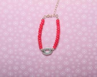 Neon Pink Heart Bracelet