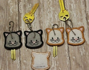 Cat key cover, key chain, embroidered, keychain, key fob, keyfob, embroidery, gift, stocking stuffer, party favor, grab bag, animal
