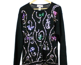 Vintage 80s 90s Black Jumper with Coloured Sequins