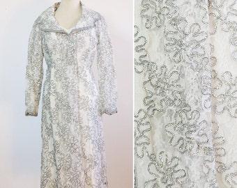 Vintage Silver Dress / Disco Dress / 1960s Silver Lace Dress / Silver Dress Medium Large / Madmen Dress / 60s Dress
