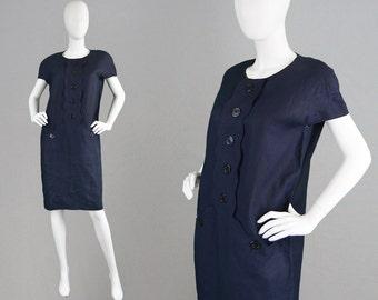 Vintage 80s LUISA SPAGNOLI Navy Blue Linen Shift Dress Mod Dress Oversized Dress Classic Dress Minimalist Dress Italian Designer Dress 1980s
