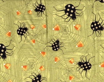 Halloween Cotton Fabric Witchful Thinking Spiders & Candy Corn on Olive Green #742