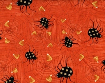 Halloween Cotton Fabric Witchful Thinking Spiders & Candy Corn on Orange #741