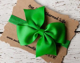 Emerald Headband, 4 Inch Hair Bow, Green Headband, Christmas Headband, St Patricks Day Headband, Baby Headband, Toddler Headband