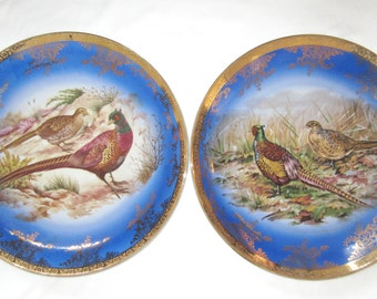 Pair of Vintage STW Bavaria Germany Pheasant Blue and Gold Charger Plates Royal Vienna