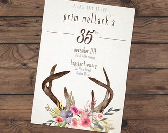 Floral Antler Watercolor invite