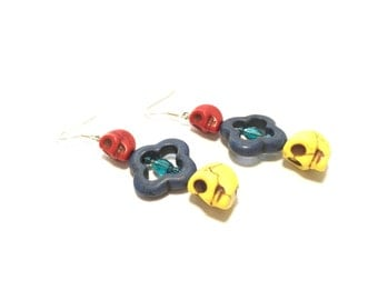Red, Blue, and Yellow Skull Earrings