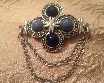 Blue Vintage Shield Brooch