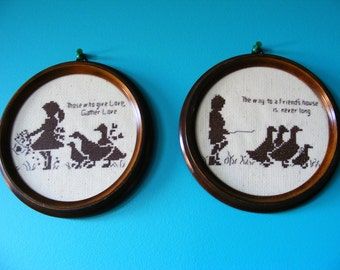 Pair of framed cross stitch - silhouette of little girl, boy and geese - wooden frame -