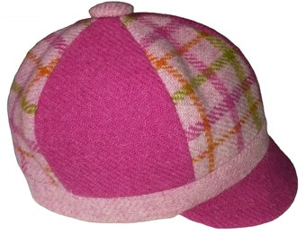 Size L (6-10 years) Girls Harris Tweed Baker Boy Hat / Newsboy Cap, Tweed Cap, Girs Cap, Hat (Bubblegum Pink / Pink Check) READY TO SHIP