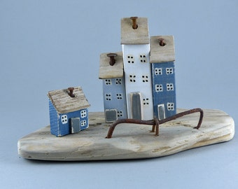 Lovely Driftwood with little houses, rusty nails and metal # 318