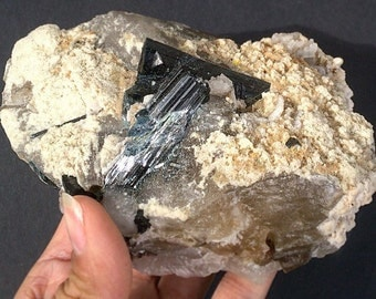 Blue-Black Tourmaline Indicolite Schorl Etched Crystals on Feldspar Muscovite Quartz Matrix 638g Brazil