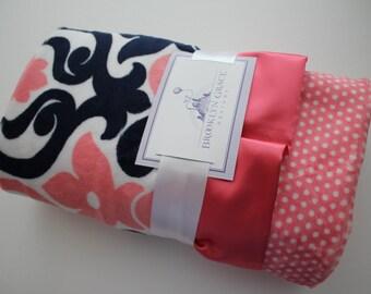 Premier Prints Deco Minky Cuddle Coral, Navy, Gray and White Minky Blanket, Baby, Girl, Baby Shower, Crib Bedding, Nursery