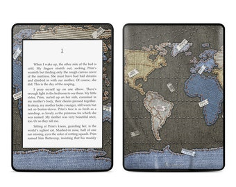 Amazon Kindle Skin - Jean Map by Vlad Studio - Sticker Decal - Fits Paperwhite, Fire, Voyage, Touch, Oasis