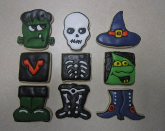 9 Halloween Trio Decorated Cookies