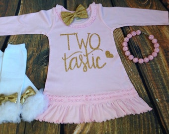 Pink and Gold Second Birthday Dress /  Two Tastic Ruffle Dress in Pink and Gold /  Girls 2nd Birthday Outfit