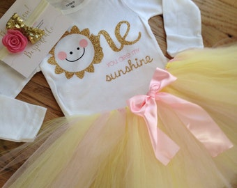 You are My Sunshine First Birthday Outfit | Summer 1st Birthday outfit with pink and yellow tutu | Your are my sunshine outfit