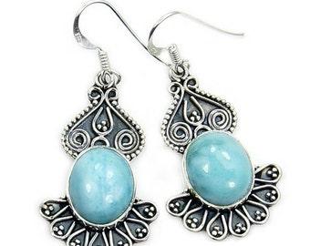 Vintage Style Larimar Earrings & Sterling Silver Dangle Earrings Jewelry ; Y484