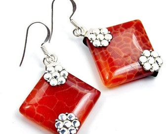 Exotic Fire Crab Agate & .925 Sterling Silver Dangle Earrings ; S906