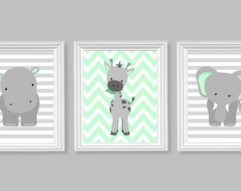Zoo Nursery Decor, Elephant Nursery Art, Grey and Mint, Baby Nursery Decor, Baby Room Decor, Giraffe, Chevron, Hippo, Jungle Nursery Decor