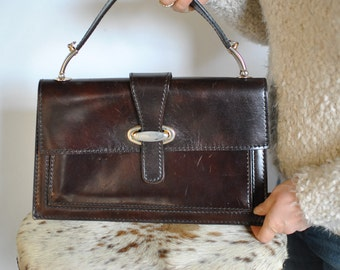 Vintage LEATHER BAG , top handle leather bag ......(351)