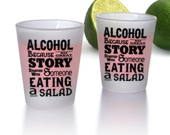 ALCOHOL Printed BarConic® Frosted Shot Glass - Set of 6