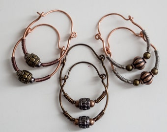 Old World Mixed Metal Hoop Earrings