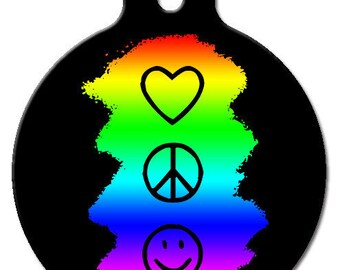 Peace, Love & Happiness ID Tag