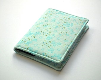 A6 Notebook Cover, A6 Journal Cover, Diary Cover A6, Fabric Book Cover, Removable Book Cover, Fabric Slip-Cover, Turquoise, Aqua, UK Seller