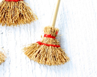 Vintage Mini Straw Brooms with Red Accents- Set of Three