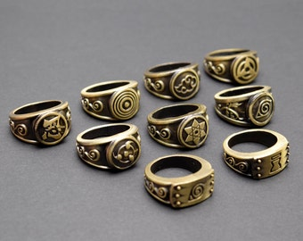 Naruto cosplay ring – Mangekyō – Sharingan – Akatsuki – Ninja – Shinobi – Rinnegan – Village Emblems – CHOOSE DESIGN