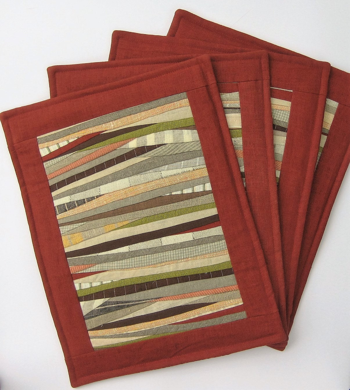 Dinner placemats table mats brick red placemats quilted place for Dinner table placemats