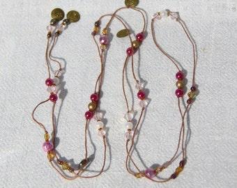 Handmade Necklace and Bracelet Set - Pink