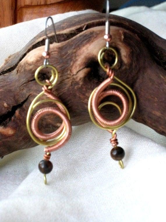 Original earrings - Mixmetal wire with tiger eye bead - Handmade Artisan Jewelry