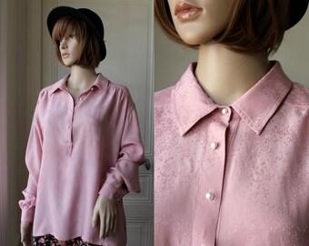 Antique pink SILK blouse boheme romantic 70s pale pink powder pink flecked vintage blouse - Size L