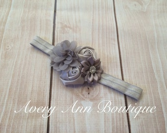 Grey Headband, Flower Girl Headband, Baby Grey Headband, Newborn Grey Headband, Flower Headband, Holiday Headband, First Birthday