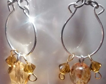 Crystal and Glass Chandelier Earrings