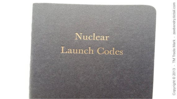 Nuclear Launch Codes - Funny Letterpress Ruled Notebooks, Jotters, Cahiers, Moleskines, Mini Journals A6 Pocket Notebooks