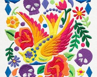 CALAVERA SKULL Dia de Los Muertos Mexican Culture, Sugar Skull, Day of the Dead, Embroidered Dish Towel, Embroidered Kitchen Towel