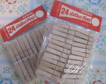Clothespins Wood Vintage 2 Packages Wooden Clothespins Wood Clothes Pin - 48