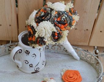 Small Orange Camo Bride or Bridesmaid Bouquet, Orange Camo Bouquet, Hunting Wedding, Camo Bouquet, Sola Bouquet, Bridesmaid Bouquet