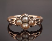 Victorian Pearl Ring with four Antique Natural Pearls