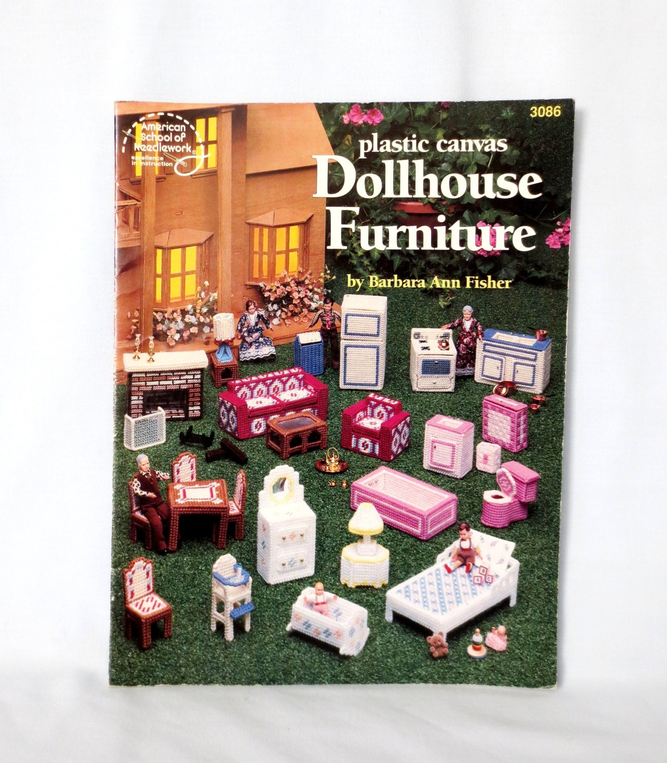 Plastic Canvas Dollhouse Furniture Asn 3086 Five Rooms Scale