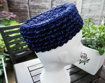 Vintage Ladies Hat Blue Raffia 1950s 1960s style Stap Under Chin Pillbox Style Navy Blue