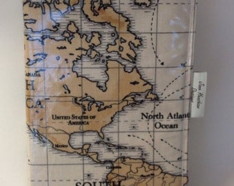 A5 diary cover, book cover, journal cover, oilcloth diary cover, world maps oilcloth
