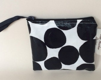 Black and white spotty oilcloth coin purse
